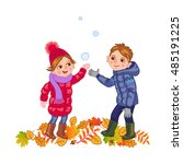 boy and girl catching the... | Shutterstock .eps vector #485191225