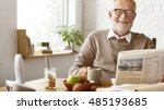 grandfather newspaper coffee... | Shutterstock . vector #485193685