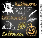 halloween hand drawn characters ... | Shutterstock .eps vector #485194687