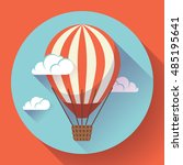 hot air balloon in clouds... | Shutterstock .eps vector #485195641