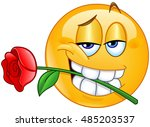 charming emoticon holding red... | Shutterstock .eps vector #485203537