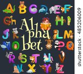 cute cartoon animals alphabet... | Shutterstock .eps vector #485206009