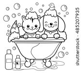 dog and cat taking a bath... | Shutterstock .eps vector #485207935