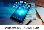 modern icons flying over mobile ... | Shutterstock . vector #485214685