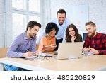 happy students discussing with... | Shutterstock . vector #485220829
