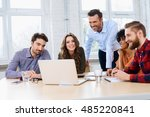 teacher working with students... | Shutterstock . vector #485220841