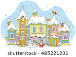 toy town with colorful houses... | Shutterstock .eps vector #485221231