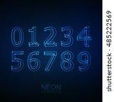 neon 3d number set. typographic ... | Shutterstock .eps vector #485222569