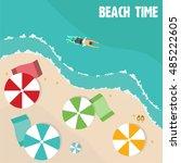 summer beach in flat design ...   Shutterstock .eps vector #485222605