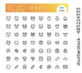 set of 56 pet line icons... | Shutterstock .eps vector #485224555