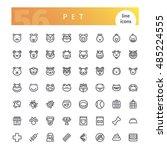 set of 56 pet line icons... | Shutterstock .eps vector #485224555