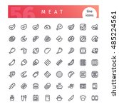 set of 56 meat line icons... | Shutterstock .eps vector #485224561