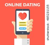 online dating concept. hand... | Shutterstock .eps vector #485231155