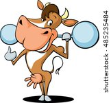 funny strong health fitness cow ... | Shutterstock .eps vector #485235484