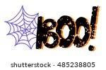 halloween card. spiderweb. boo... | Shutterstock .eps vector #485238805