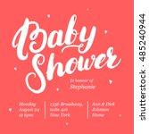 baby shower invitation card...   Shutterstock .eps vector #485240944