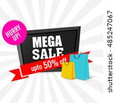 mega sale with upto 50  off ... | Shutterstock .eps vector #485247067