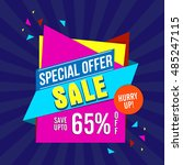 special offer sale with 65 ... | Shutterstock .eps vector #485247115