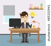 businessman with idea light... | Shutterstock .eps vector #485252941
