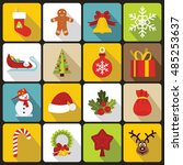 christmas icons set. flat... | Shutterstock .eps vector #485253637