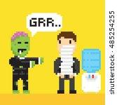 pixel art game style halloween... | Shutterstock .eps vector #485254255
