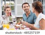 happy mature couple in... | Shutterstock . vector #485257159