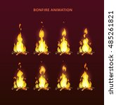 bonfire animation sprites ... | Shutterstock .eps vector #485261821