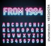 glowing neon tube font. retro... | Shutterstock .eps vector #485264254