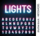 glowing neon tube font. retro... | Shutterstock .eps vector #485264281
