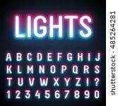 glowing neon tube font. retro... | Shutterstock .eps vector #485264281