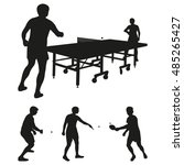 table tennis vector silhouettes | Shutterstock .eps vector #485265427