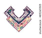 graphic tribal print on neck.... | Shutterstock .eps vector #485265505