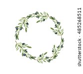 olive tree wreath painted by... | Shutterstock . vector #485268511