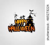halloween vector design with... | Shutterstock .eps vector #485273224