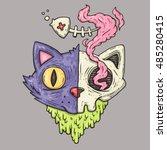cat head with skull. cartoon... | Shutterstock .eps vector #485280415