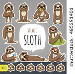 cartoon sloth character.... | Shutterstock .eps vector #485291401