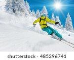 skier skiing downhill in high... | Shutterstock . vector #485296741