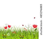 meadow in sunny summer day.... | Shutterstock .eps vector #485296885