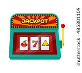slot machine web banner... | Shutterstock .eps vector #485301109