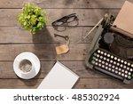 vintage typewriter on the old... | Shutterstock . vector #485302924