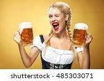 young sexy oktoberfest waitress ... | Shutterstock . vector #485303071