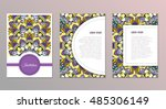 cute vintage doodle cards set... | Shutterstock .eps vector #485306149