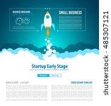 startup landing webpage or...   Shutterstock .eps vector #485307121