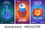 halloween illustration cemetery ...   Shutterstock .eps vector #485312749