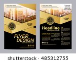 gold brochure layout design... | Shutterstock .eps vector #485312755