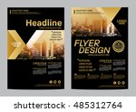 gold brochure layout design... | Shutterstock .eps vector #485312764