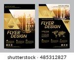 gold brochure layout design... | Shutterstock .eps vector #485312827