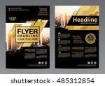 gold brochure layout design... | Shutterstock .eps vector #485312854