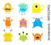 monster big set. cute cartoon... | Shutterstock .eps vector #485313901
