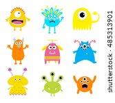 monster big set. cute cartoon... | Shutterstock .eps vector #485313901